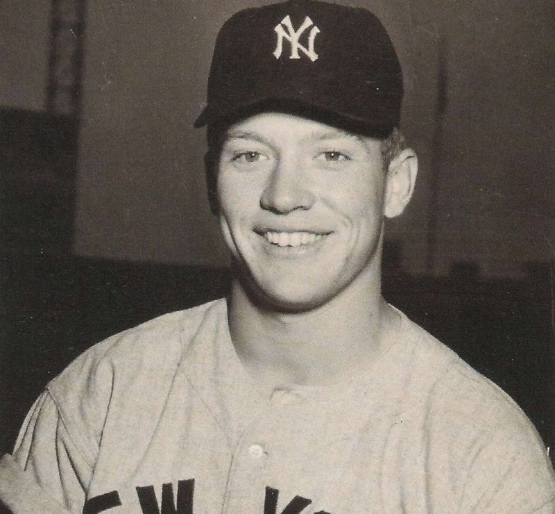 Mickey Mantle in New York shirt.
