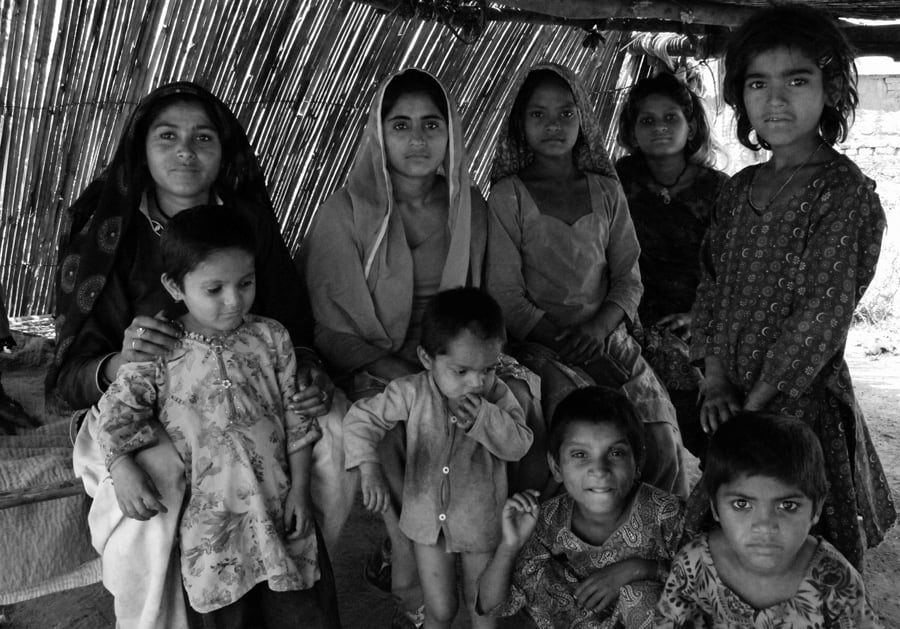 Pakistani Hindu Refugee Woman and Eight Children