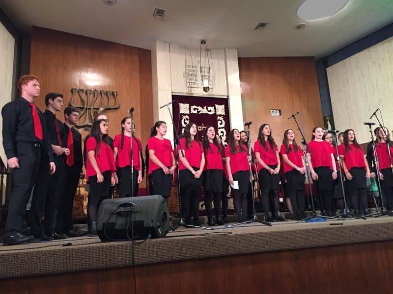 Shalhevet Choir on stage