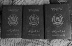 Three Pakistan Passports of Pakistani Hindu Refugees. Photo by Shib Shankar Chatterjee.