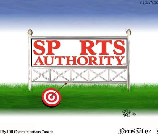 Sports authority is a target cartoon.