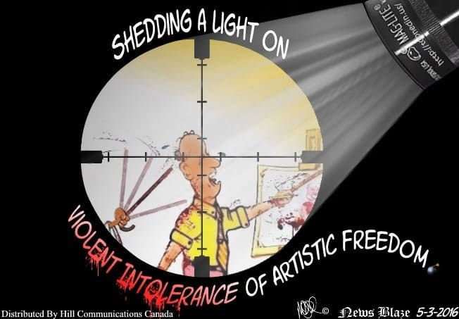 Shedding light on violent intolerance cartoon.