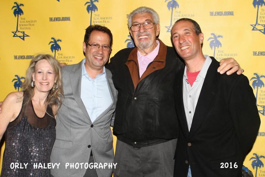 LAJFF-L-Hilary Helstein Jewish Film Festival Director, R-Jay Reisbaum (nephew), Bob Laemmle (2nd generation Laemmle) and Greg Laemmle (3rd generation Laemmle)