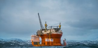 Goliat oil platform in a fjord, Norway.