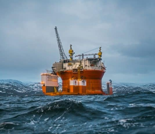 Goliat oil platform in a fjord, Norway.