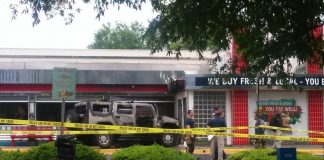 hummer that intentionally rammed into silver diner.