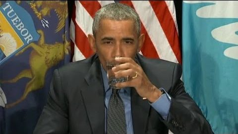 Obama Flint water drink