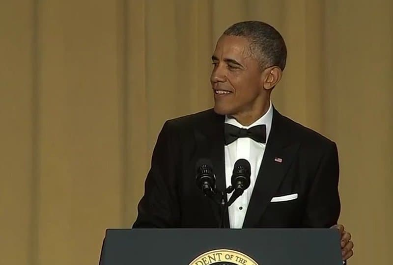 Barack Obama joking with press corps.' Dinner