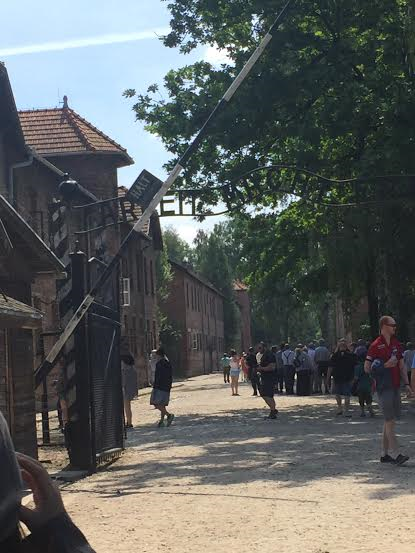 Auschwitz I - entrance sign Arbeit macht frei.