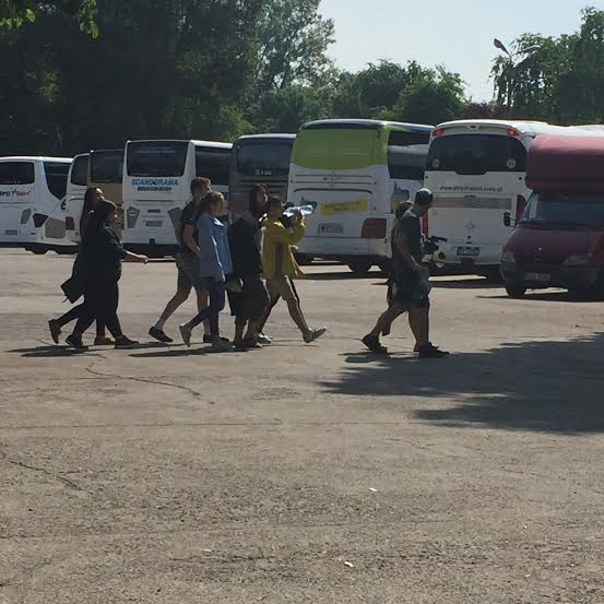 Auschwitz I - parking lot full of visitors