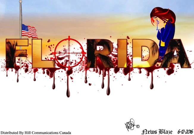 Somberday in Florida after mass shooting by solo terrorist - cartoon.