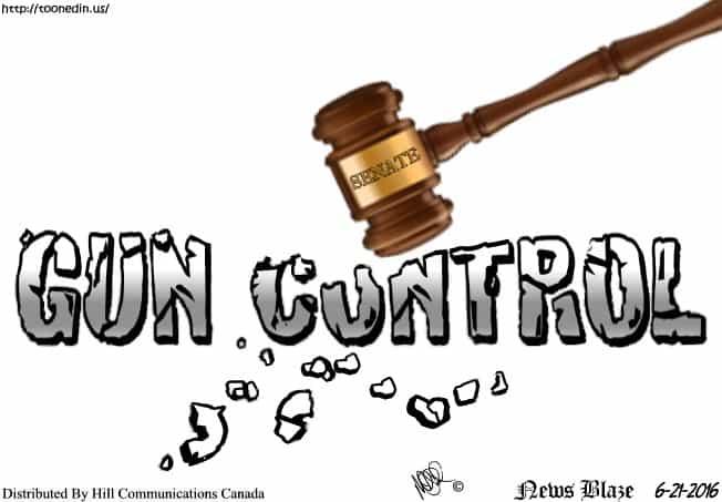 Gun Control Measures cartoon by Hill Communications Canada © Michael Pohrer 6-21-2016