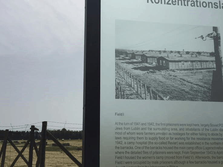 Majdanek - destroyed barracks of field I and how it used to look.