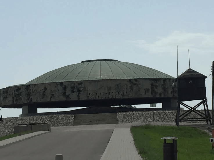 Majdanek - the Mausoleum burial of the ashes of 18,000 Jews burned.