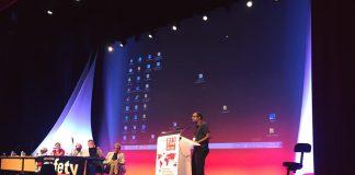 IFJ Executive committee member and NUSOJ secretary General Omar Faruk Osman Nur addressing at IFJ conference on June 10 2016.