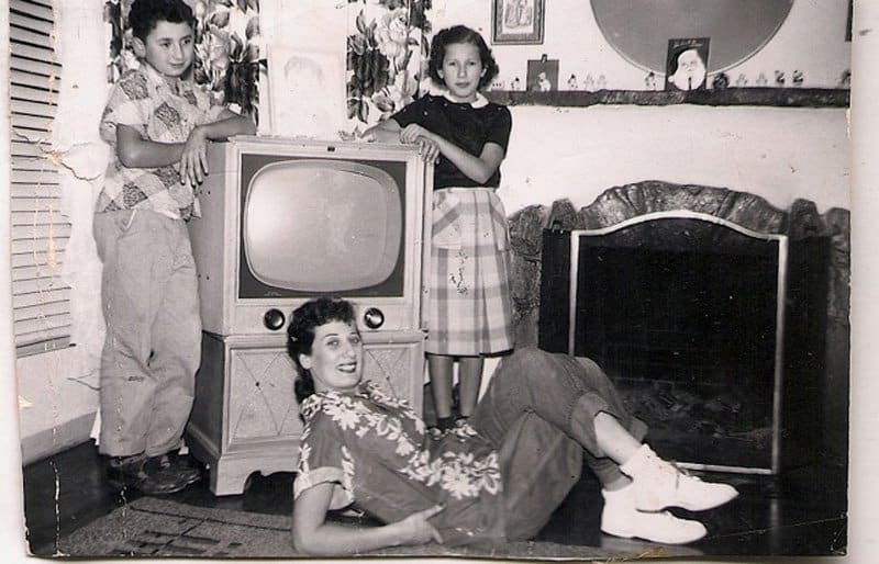 My brother, me and mom with the TV, when video dimmed radio's star.