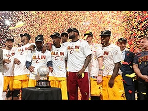 Cleveland Cavaliers. Lebron James with his teammates during the awarding ceremony. image from youtube screenshot.