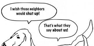 The joy of Apartment Living: dog neighbor cartoon.