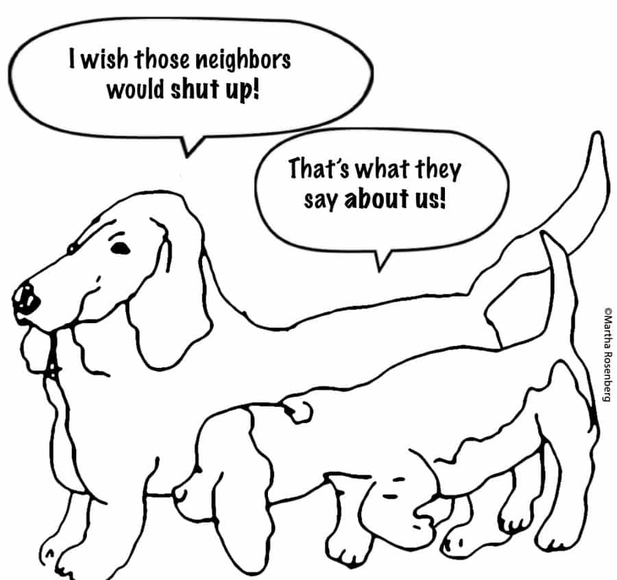 The joy of Apartment Living: dog neighbor cartoon.