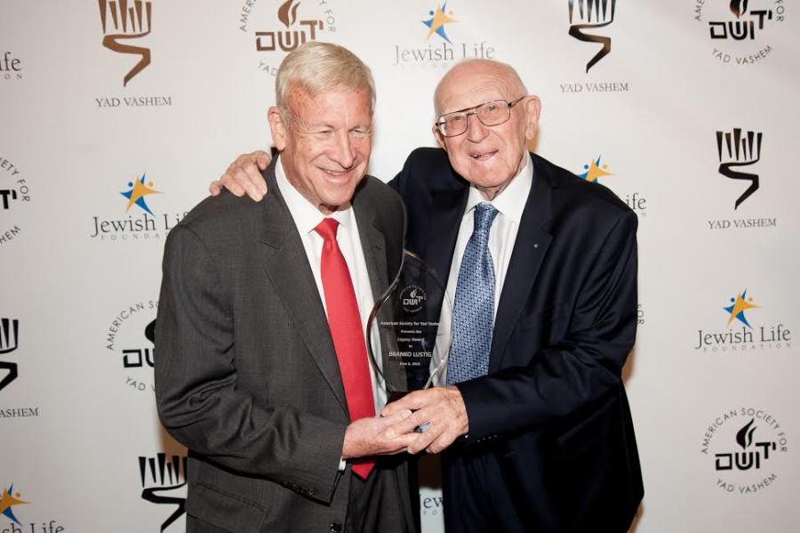 JLTV founder and president Phil Blazer (L) presented Branko Lustig with the Legacy Award. Photo credit Kyle Espeleta, courtesy American Society for Yad Vashem.