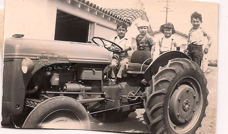 kids on the tractor.