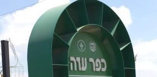 At the entrance to Kfar Aza.