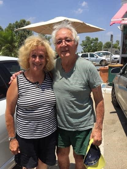 With Amos, 86, the oldest member of kibbutz Kfar Aza