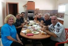 My visit to Haifa-Fire Fighters' station at breakfast.