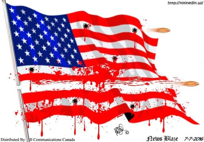 Blood stains on the Flag.