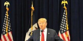 Donald Trump speaking in Iowa.