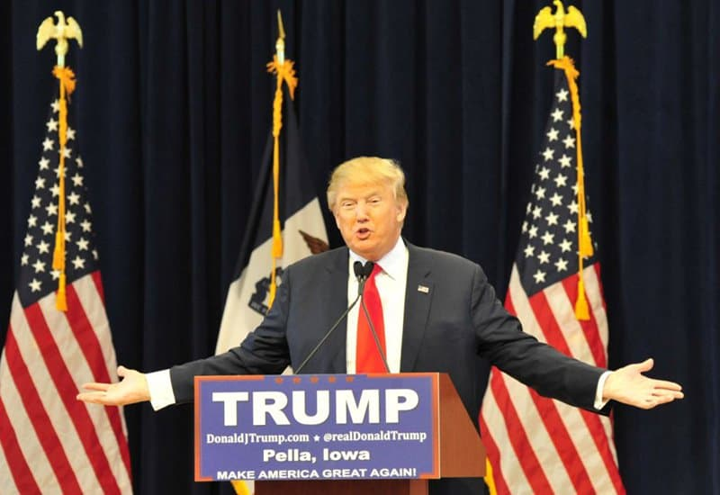Donald Trump speaking in Iowa.