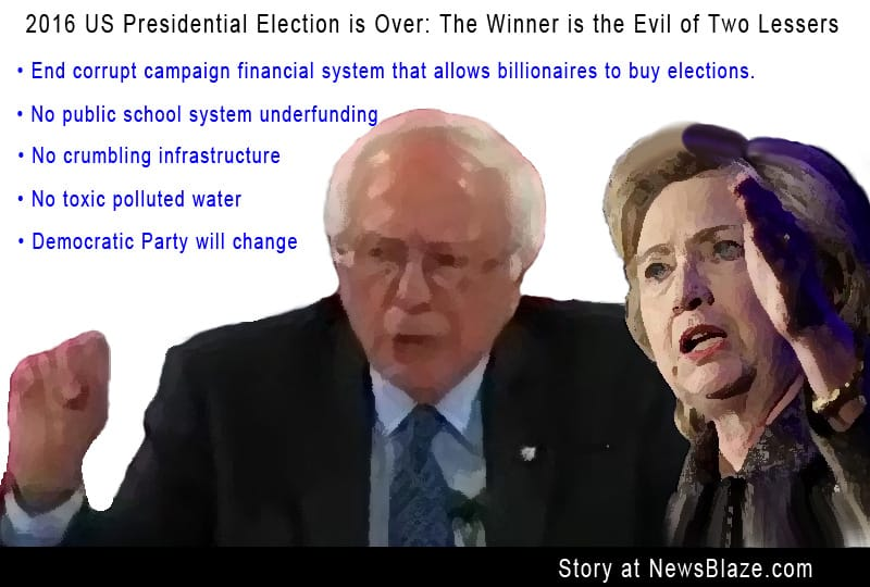 Lesser of two evils Bernie and Hillary arguing. The Evil of Two Lessers!