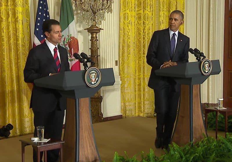 us president barack obama shares his facts with mexican president pena nieto.