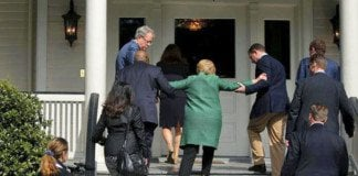 hillary clinton being helped up a short staircase. Lucky Hillary Clinton lost the presidency