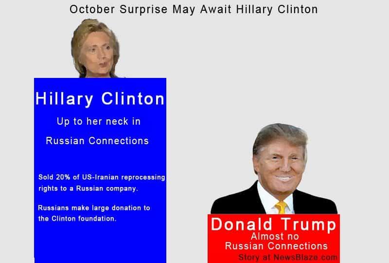 October surprise may await Hillary Clinton.