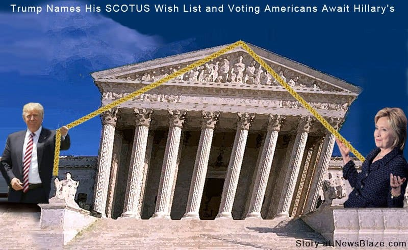 Trump SCOTUS wish list is known, but Clinton's is not.