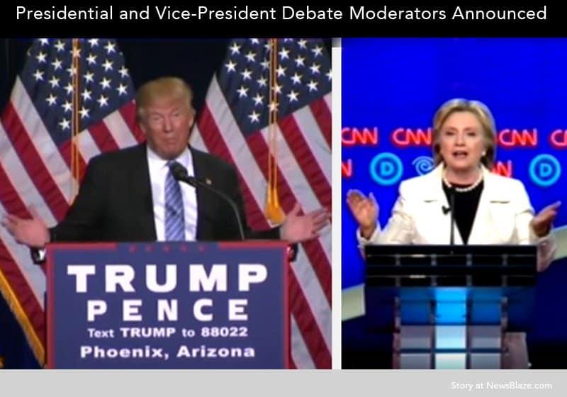 debate moderators announced for Clinton-Trump debates.