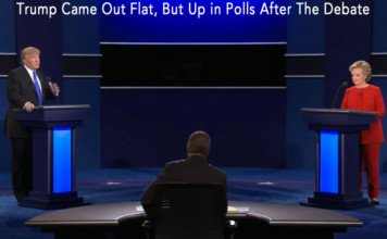 trump and clinton in the first debate.