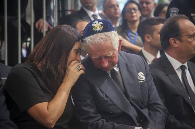 Prince Charles with minister Miri Regev wearing a royal kippah at Shimon Peres funeral. Photo: Marc Israel Sellem.