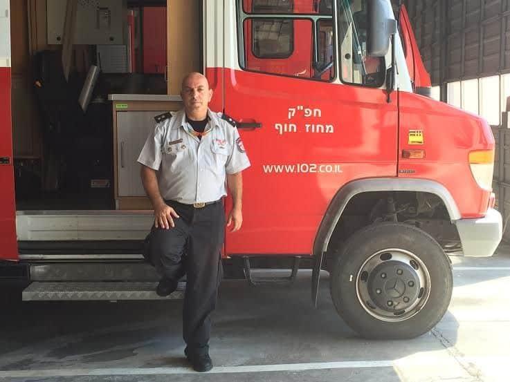 Uri, Haifa fire fighters' spokesperson-July 2016, photo Nurit Greenger