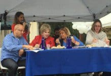 Hummus competition judges' panel L-2-R- Tamir Cohen, Co-Chair IAC LA, Nancy Krasne, BH Vice Mayor, Frances Bilak, BH Recreation & Parks Commissioner, Maya Kadosh, Israel Consul 4 Public Diplomacy.Hummus competition judges' panel L-2-R- Tamir Cohen, Co-Chair IAC LA, Nancy Krasne, BH Vice Mayor, Frances Bilak, BH Recreation & Parks Commissioner, Maya Kadosh, Israel Consul 4 Public Diplomacy