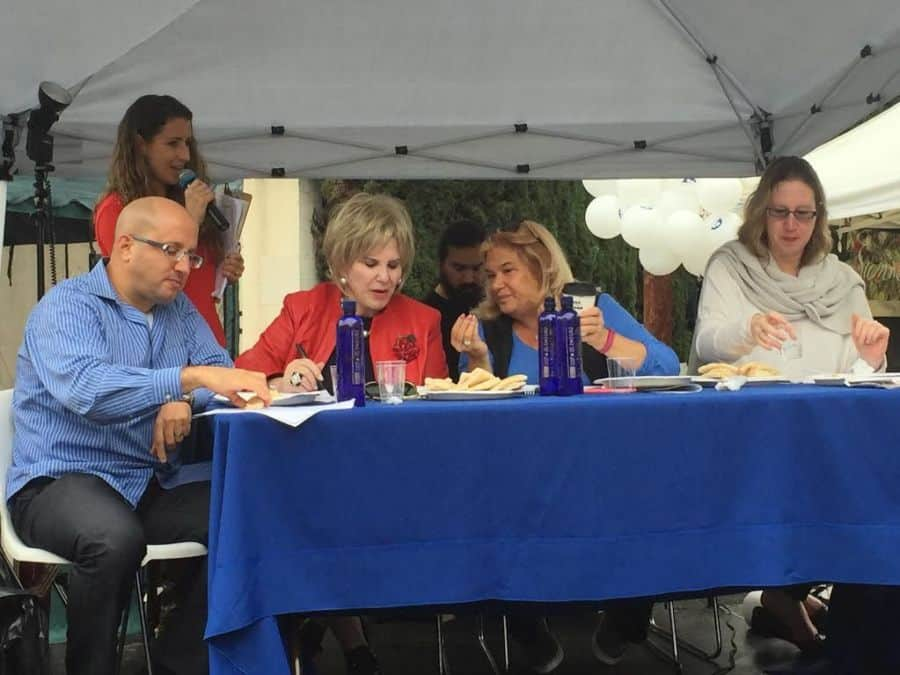 Hummus competition judges' panel L-2-R- Tamir Cohen, Co-Chair IAC LA, Nancy Krasne, BH Vice Mayor, Frances Bilak, BH Recreation & Parks Commissioner, Maya Kadosh, Israel Consul 4 Public Diplomacy