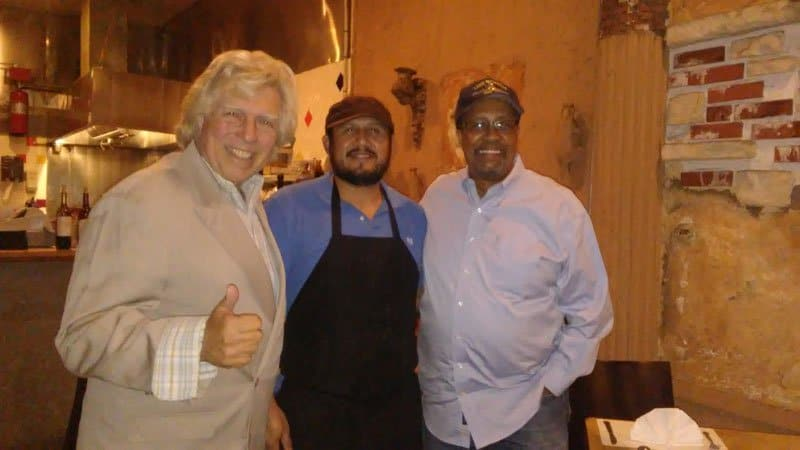 pete allman with chef and ron brewington at novecento pasra grill.