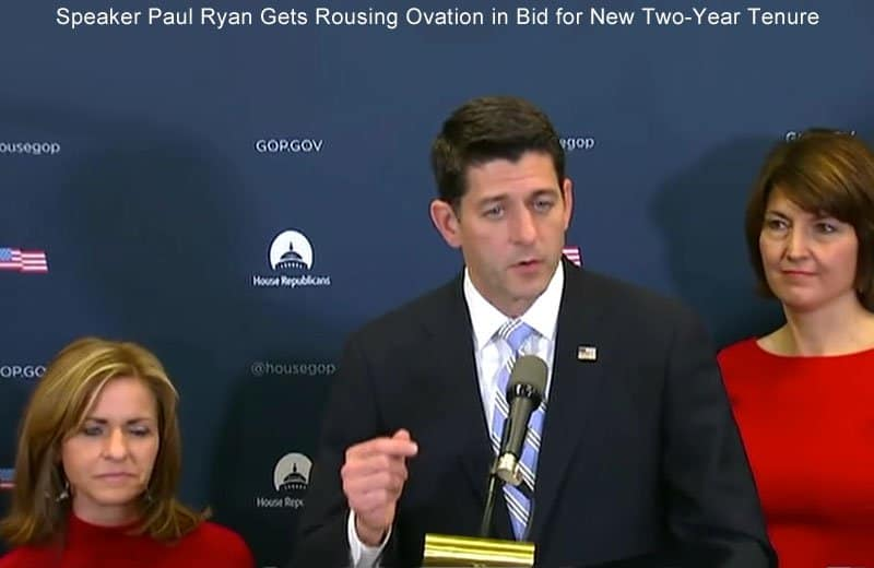 Speaker Paul Ryan Gets a Rousing Ovation in Bid for New Two-Year Tenure.