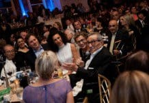 The Nazarian family table, on right from Left, Younes, Soraya and Sharon Nazarian in white, who donated $1 million to Sheba