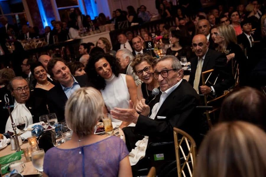 The Nazarians' family table, on right from Left, Younes, Soraya and Sharon Nazarian in white, who donated $1 million to Sheba