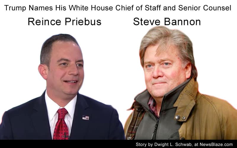 Reince Priebus, White House Chief of Staff and Steve Bannon, Chief Counsel.