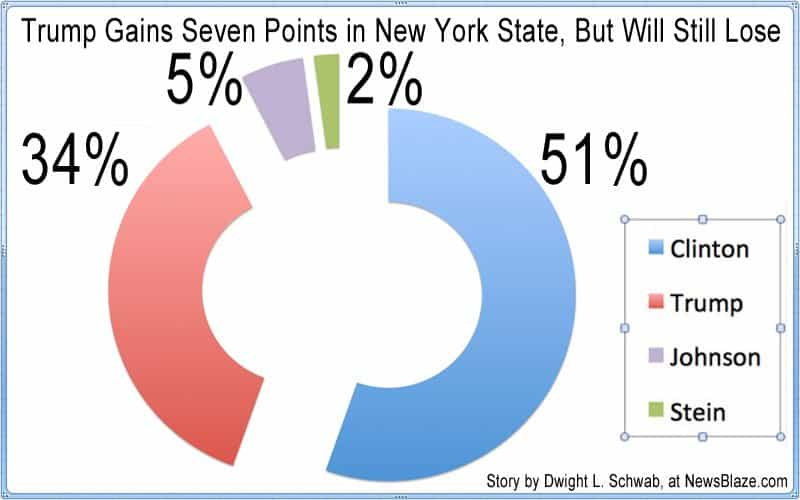 trump gains seven points in new york state but will still lose.