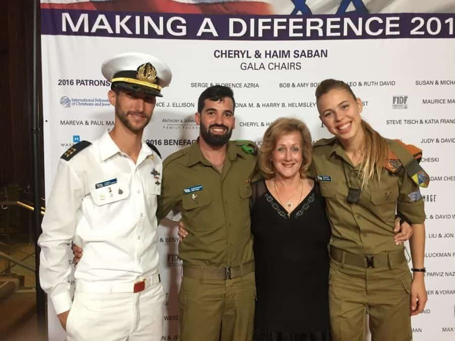 The writer with the visiting IDF soldiers
