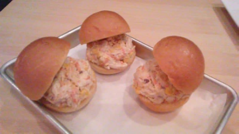 mini chicken and corn sandwiches.